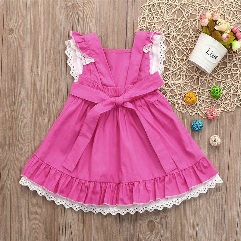 Meninas do bebê Vestir Roupas de Verão 2019 Crianças Infantis Rendas Princesa Vestidos Casuais vestidos de Verão Sólidos roupas infantis de menina