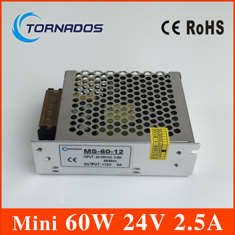 MS 60 24 60W 24V 25A Single Output Mini Size LED Switching Power Supply Transformer AC To DC In From Home Improvement On