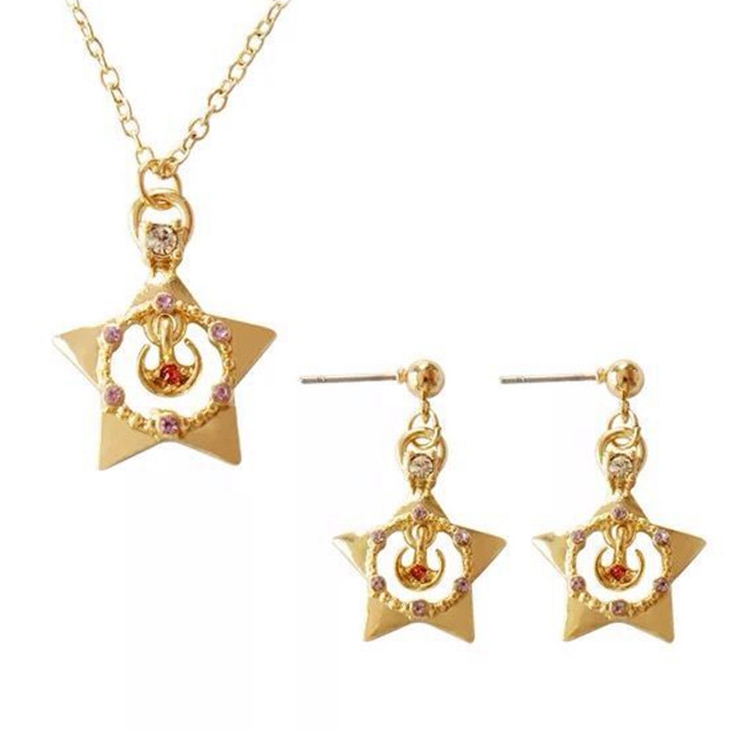 Sailor Moon Gold Stars Necklace Earrings Jewelry Set Pendant Necklaces Stud Ear Women Lady Cosplay Costume Accessories Bijoux
