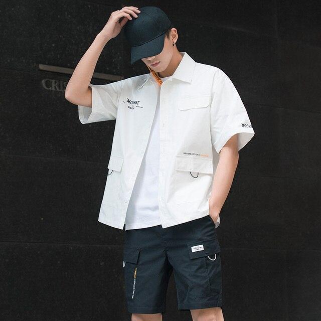 Men's Shirt Summer Short Sleeve Shirt Solid Color Comfortable Men's Tops Fashion Clothes 3