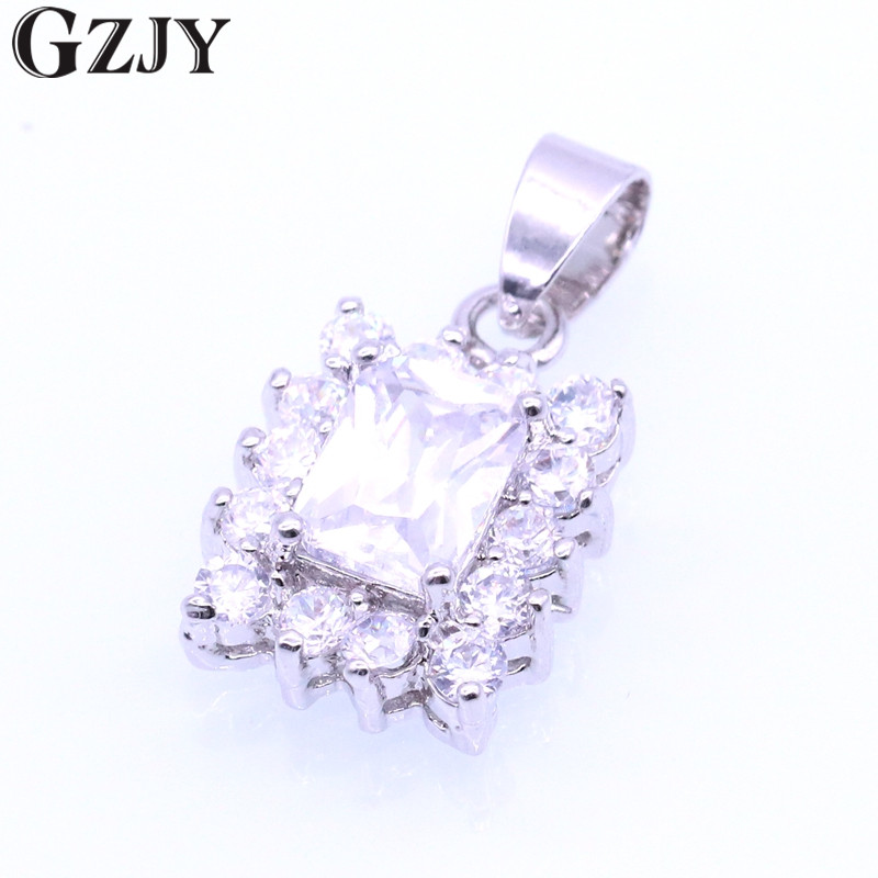 GZJY Charming Rectangle Gold Color Chain Necklace Zircon Crystal Pendant Necklace For Women Girl Fashion Jewelry Birthday Gift