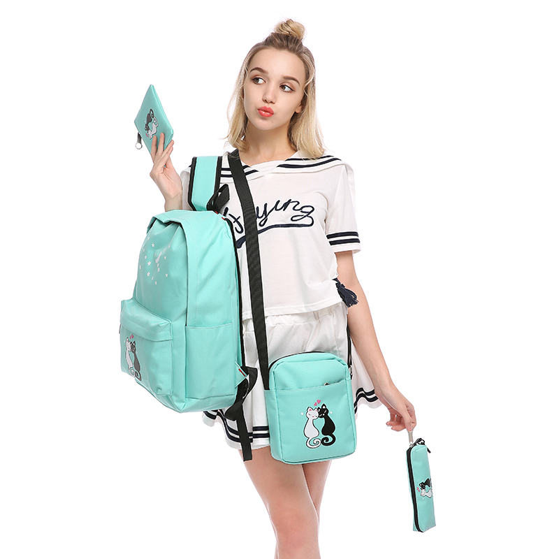 4Pcs/set women backpack schoolbag korean rucksack cut school bags for teenager girls student bag set canvas backpacks