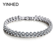 YINHED Luxury Wedding Bracelet with 99pcs High Grade Cubic Zircon Jewelry 925 Sterling Silver Bangles Bracelets for Women ZB001