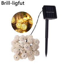 Solar Powered 6M 30 LED Rattan Balls Fairy String Lights Christmas Holiday Outdoor Waterproof Patio Garland Decorative Lights все цены
