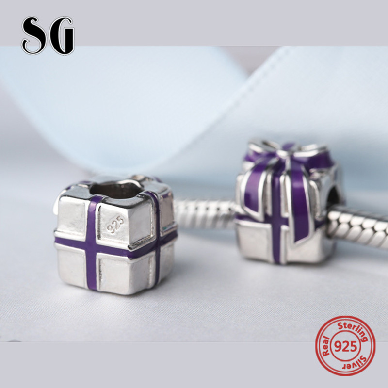 New Arrival Charms Purple Enamel Gift Box Beads Silver 925 Beads Fit Authentic pandora charm bracelet for jewelry making Gifts in Beads from Jewelry Accessories