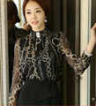 Free Shipping Plus Size Korean Stand Collar Flower Printed Long Sleeve Woman Chiffon Blouse