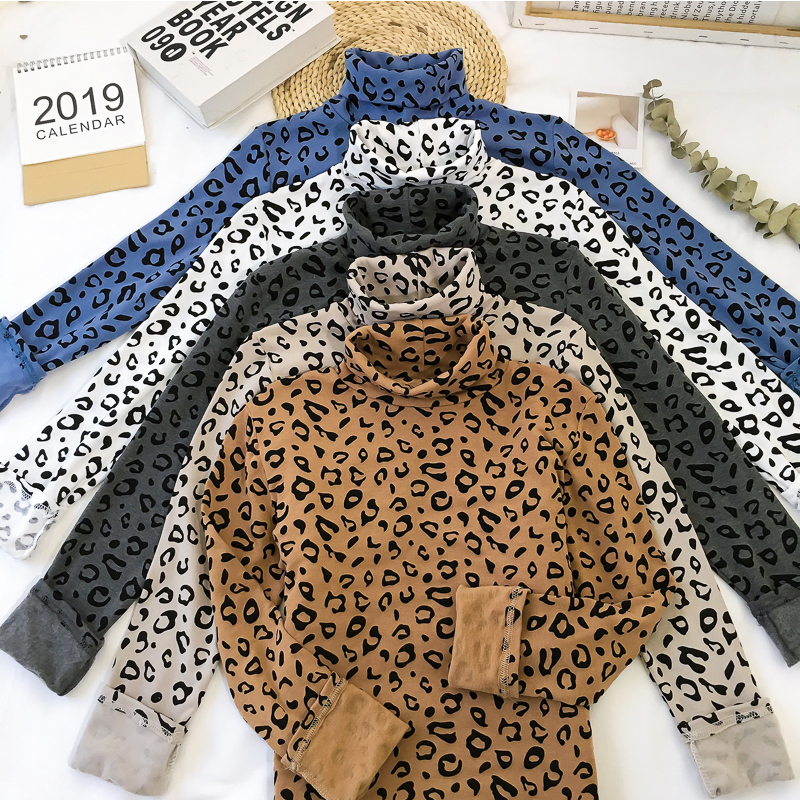 Ladies 2019 New Leopard Thick Autumn Full Sleeve T Shirts Female Slim Elastic Velvet Tee Shirt Women Turtleneck Womens Clothing