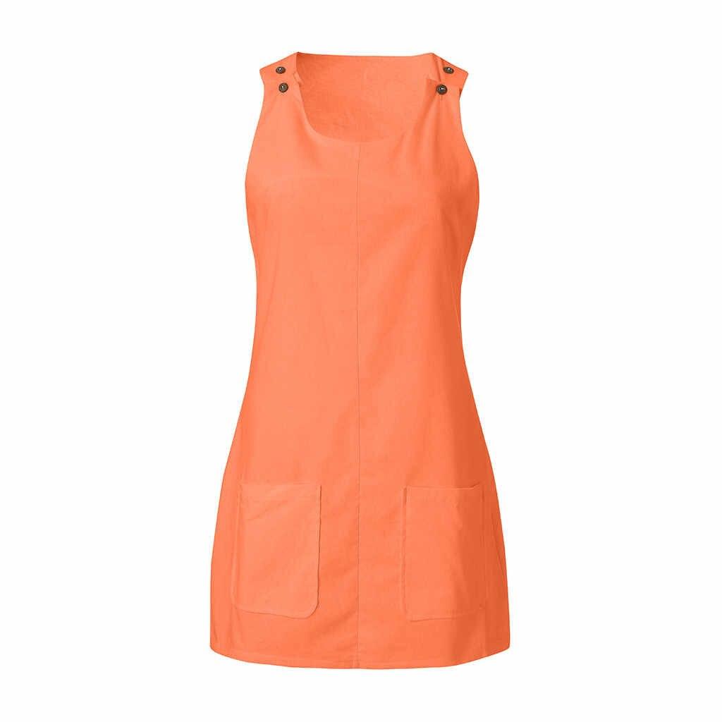 夏ドレス女性クルーネックカジュアルシフト毎日ボタン無地綿ビーチパーティードレスローブファム vestidos