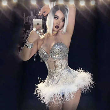 2018 Glisten Rhinestones White Feather Dress Birthday Celebrate Dress Nightclub Party Singer Costume Dance Show Outfit DJ336 - DISCOUNT ITEM  12% OFF All Category
