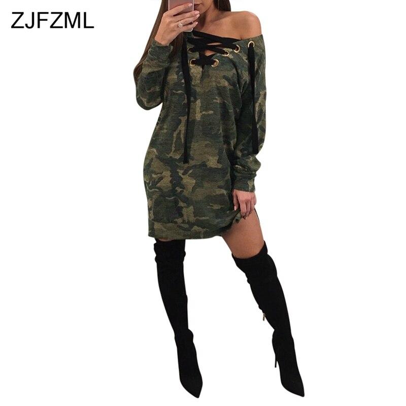 Camouflage V-Neck Long Sleeve Mini Dress Side Split skirt