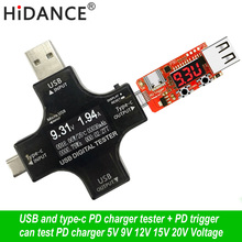 12 in 1 Type-C Micro USB tester DC Digital voltmeter current voltage detector power bank charger indicator + pd trigger monitor недорого