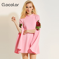 Clocolor Women Blouse Pink Flare Sleeve Floral Stand Collar 2017 BacK To School Slim New Fashion