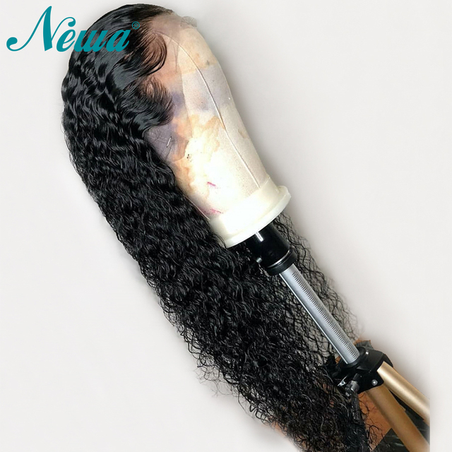 Peluca Frontal de encaje 360 cabello humano con pelo de bebé pelucas delanteras de encaje rizado brasileño nudos blanqueados predesplumados NYUWA Remy pelucas de cabello
