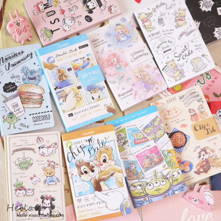 Cartoon Mickey DIY Notebook Decorative Princess Alice Sticky Note Stitch Animie Notebook Stickers For Kids Gifts