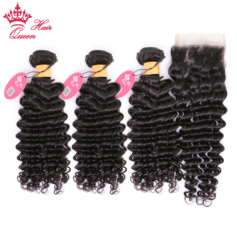 Queen Hair Products 100% Human Hair Bundles With Closure Indian Remy Hair Deep Wave 3 Bundles With Lace Closure Natural Color