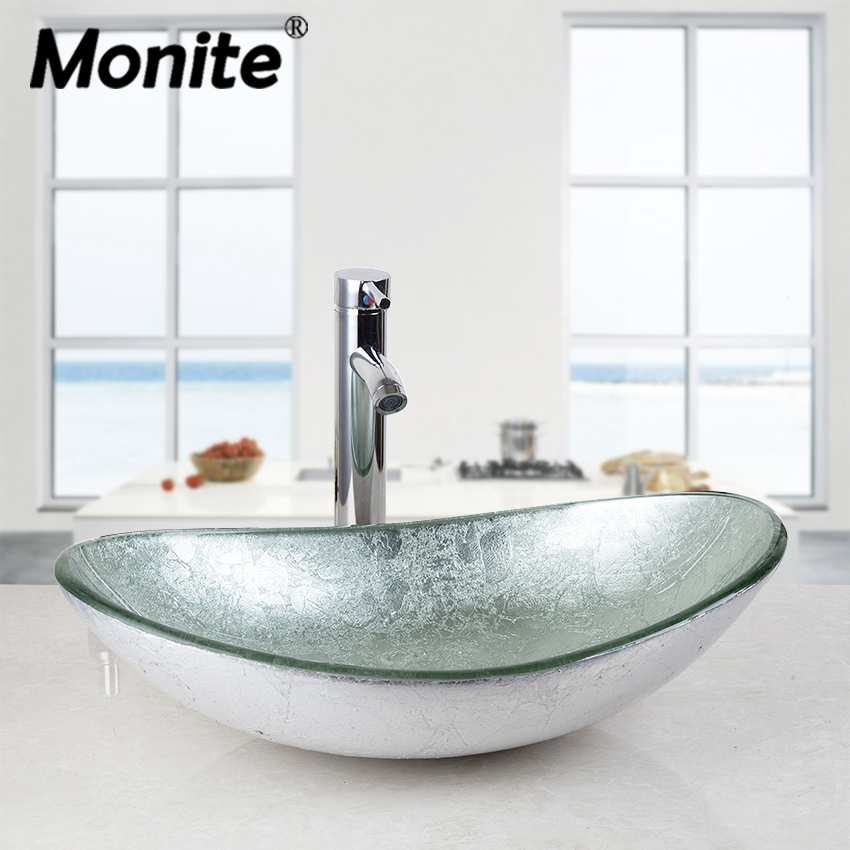 Monite Silver Oval Bathroom Washbasin Countertop Washroom Vessel Vanity Tempered Glass Basin Sink Faucet Set Brass Faucet