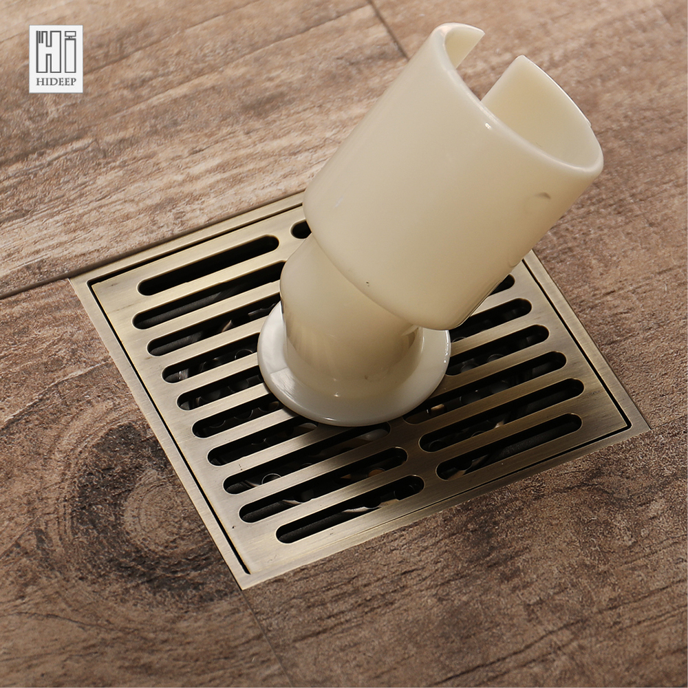 HIDEEP Antique Bronze Kitchen Balcony Shower Floor Drains Floor Grate Drain Electroplated Anti-odor Floor Drain For Bathroom цена