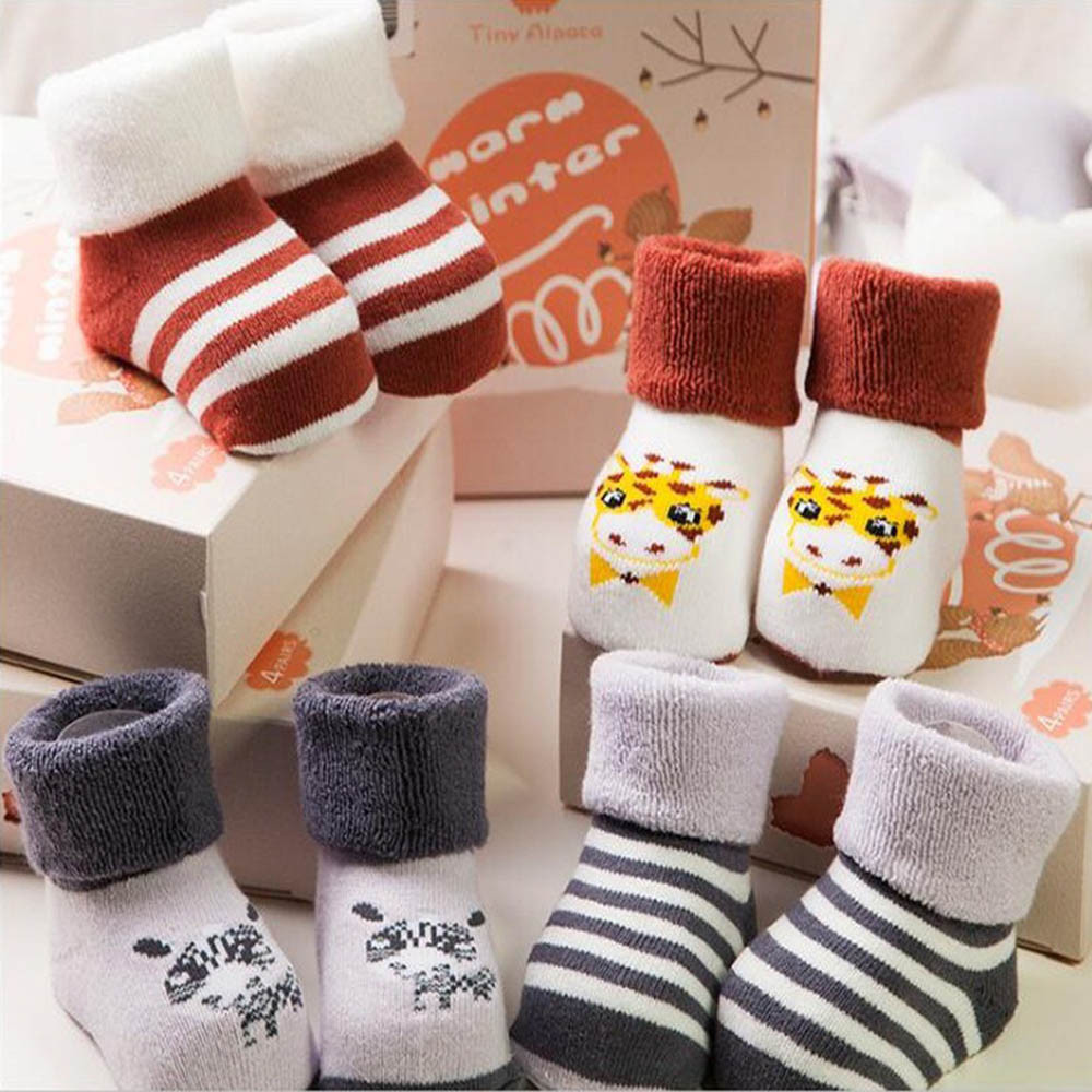 ChamsGend 4 Pairs Winter Toddlers Kids Girls Cute Pattern Funny Socks Compression Cotton Floor Socks Dropship