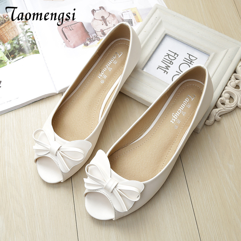 Taomengsi Ladies Sandals 2018 New Style Flat Bottom Fish Mouth Bow Knot Comfortable Anti Slip Soft Sole Shoes Shoes Tide