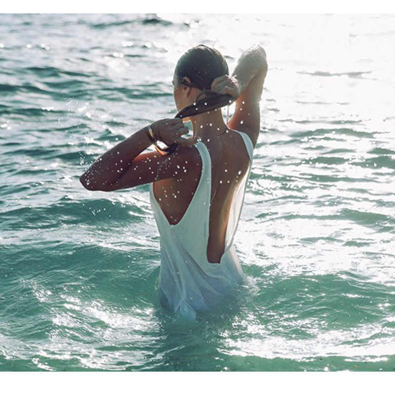 Nodelay alta qualidade nova mulher chiffon biquíni cobrir beachwear pareo praia túnica vestido sexy sem costas maiô kaftan robe