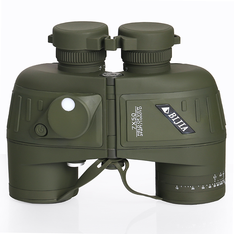 BIJIA 7x50 military binoculars rangefinder professional waterproof telescope with tripod interface sailing compass
