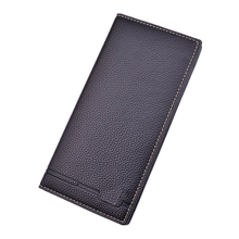 SUONAYI Business Mens Wallets Solid PU Leather Long Wallet Portable Cash Purses Casual Standard Male Clutch Bag