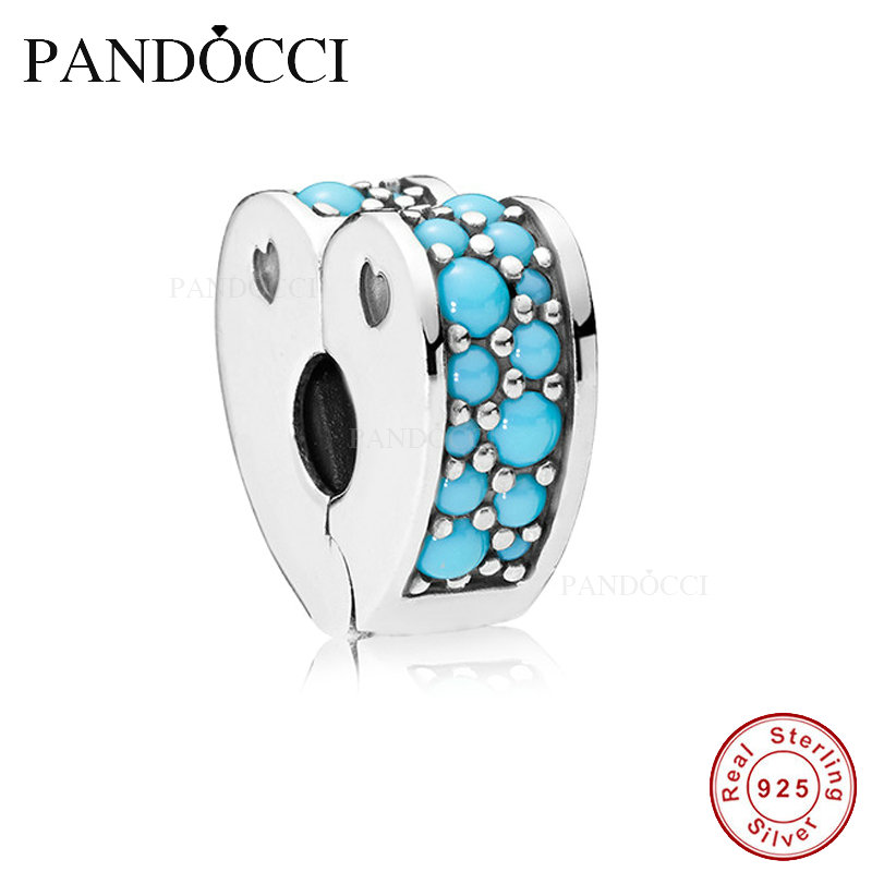 2018 Summer Collection Arcs of Love Clip Cyan Blue Crystal DIY Fits for Original Charms Bracelets 925 Sterling Silver Jewelry