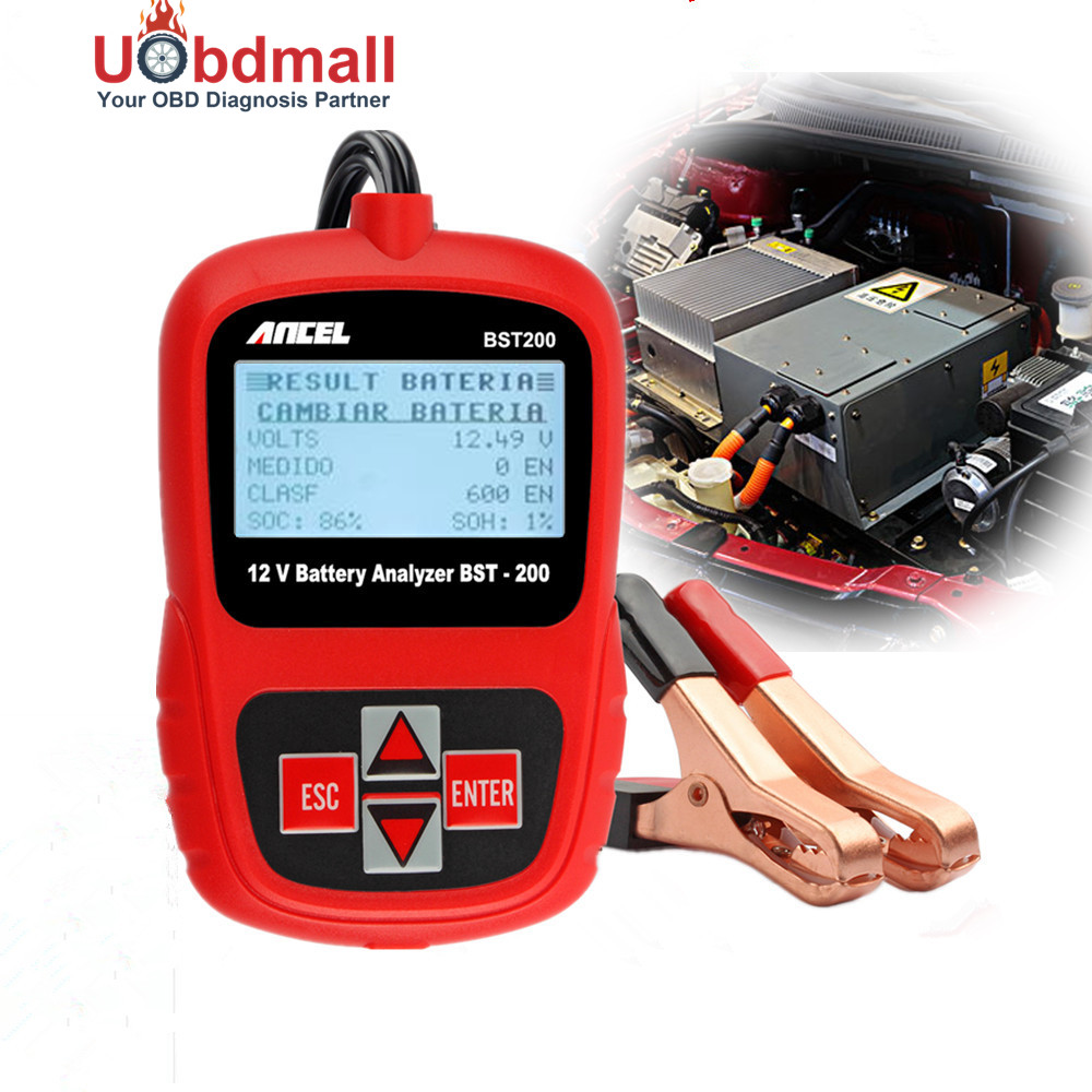 Multi language car battery tester 12v ancel bst200 automotive battery analyzer 1100cca detect bad cell battery diagnostic tool