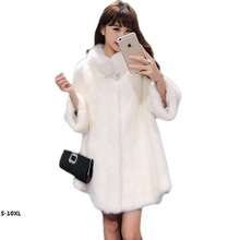 White fur coat 2017 new imitation mink fashion Rabbit female models increase fat in the long section faux