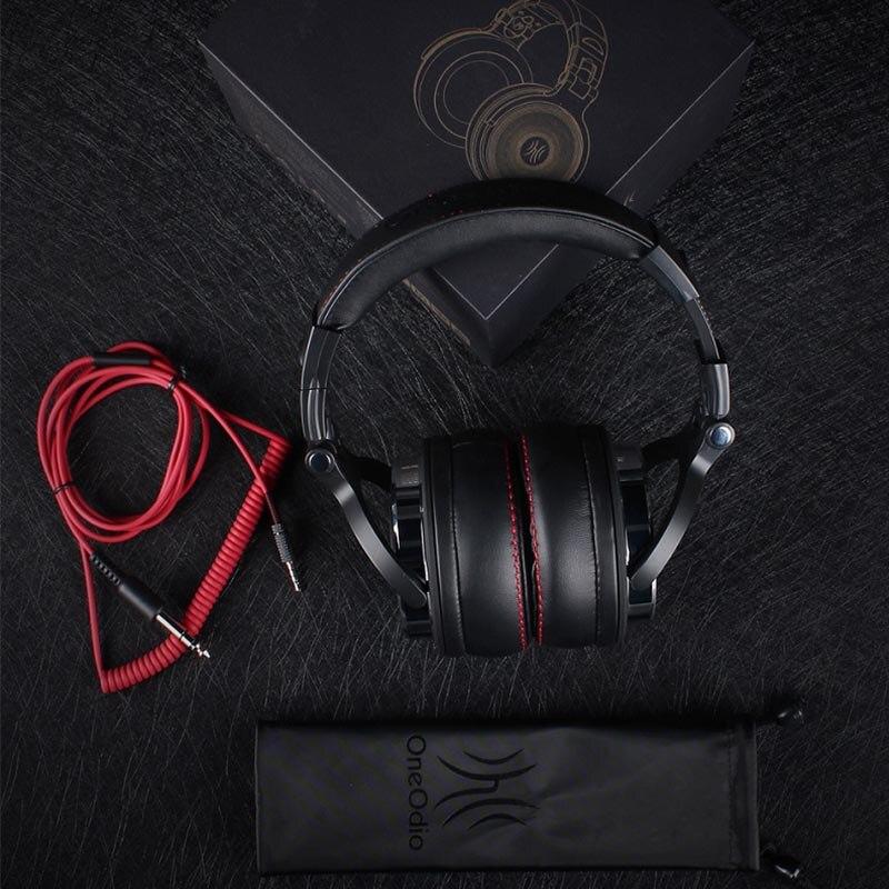Auriculares Oneodio profesional de estudio DJ con micrófono sobre la oreja con cable HiFi monitores auriculares plegables para videojuegos para PC