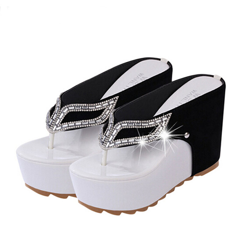 d7446ec6b Women Platform Flip Flops Rhinestone Wedge Heel Shoes Patchwork Woman  Summer Sandals Shoes P5d11