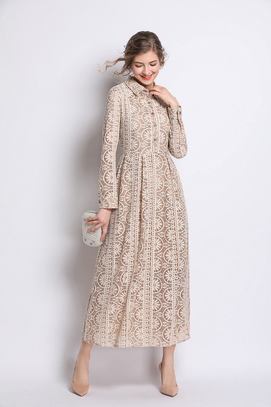 Long Summer Khaki Hollow Out Lace Dress 4