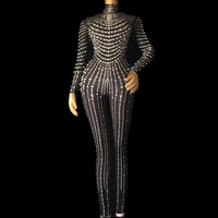 Dancing Performance Shning Rhinestones Stretch Skinny Rompers Bodycon Dance Costumes Women Jumpsuits Nightclub Sexy Mesh Clothes