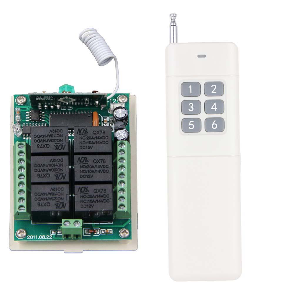 3000M Long Range DC12V 24V 6 CH 6CH RF Wireless Remote Control Switch System,315/433.92 Mhz,Transmitter + Receiver dc24v 8ch rf wireless remote control switch 8 receiver