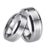 Tailor Made Center Brushed Stripe Matching Tungsten Rings Beveled Wedding Bands Size 4 18 CNR05D