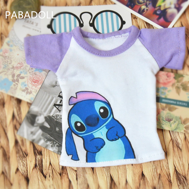 Cute Animal Purple T shirt for BJD 1/6 YOSD 1/4 MSD 1/3 SD10 SD13 SD17 Uncle BJD SD Doll Clothes Customized