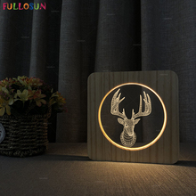 Warm Color Acrylic 3D LED Night Light Illusion Optical Lamp Creative Deer Wooden Bedroom Table as Christmas Gift