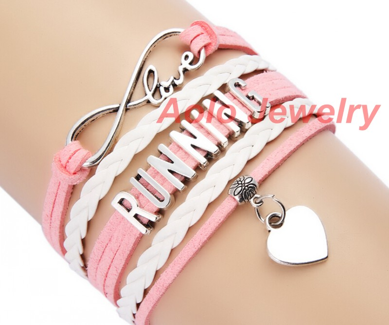 Us 1 69 Running Infinity Bracelet Pink White Make Your Own Design Free Shipping 0110 In Charm Bracelets From Jewelry Accessories On Aliexpress