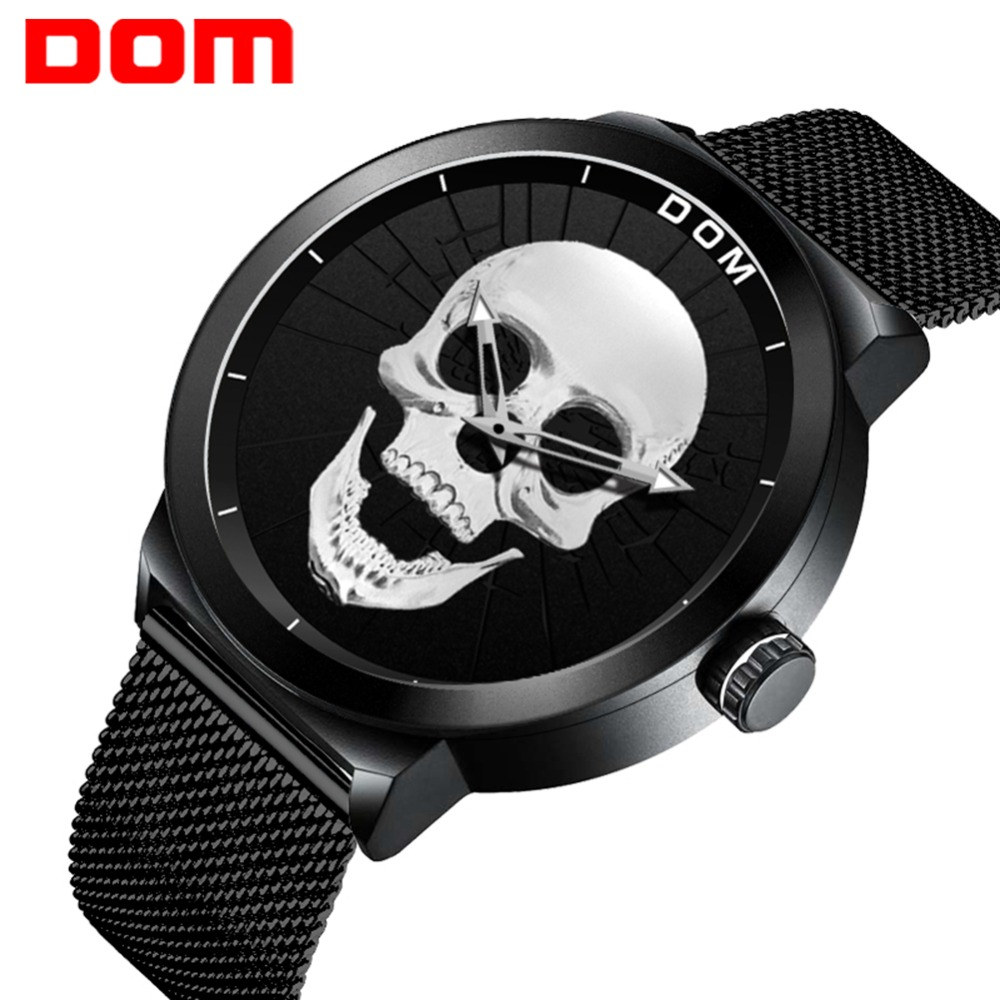 Men's Watch DOM Cool Bone Luxury Brand M-1231 Creative Clock Black Male Watch Skull Style Quartz Men Watches relogio masculino cool skull style ox bone bracelets 2 pack