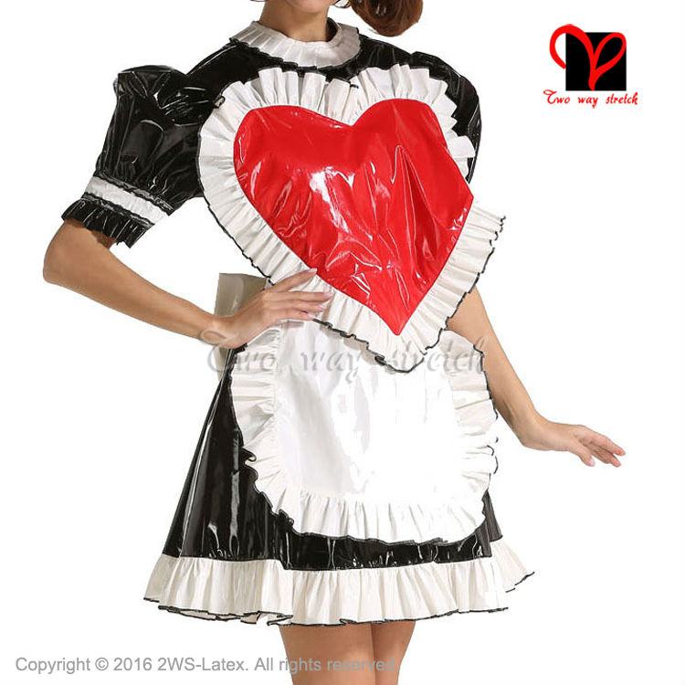 Sexy black w white trims Rubber dress and white Latex apron Waitress baby doll frilles Latex Maid uniform short sleeves QZ 084