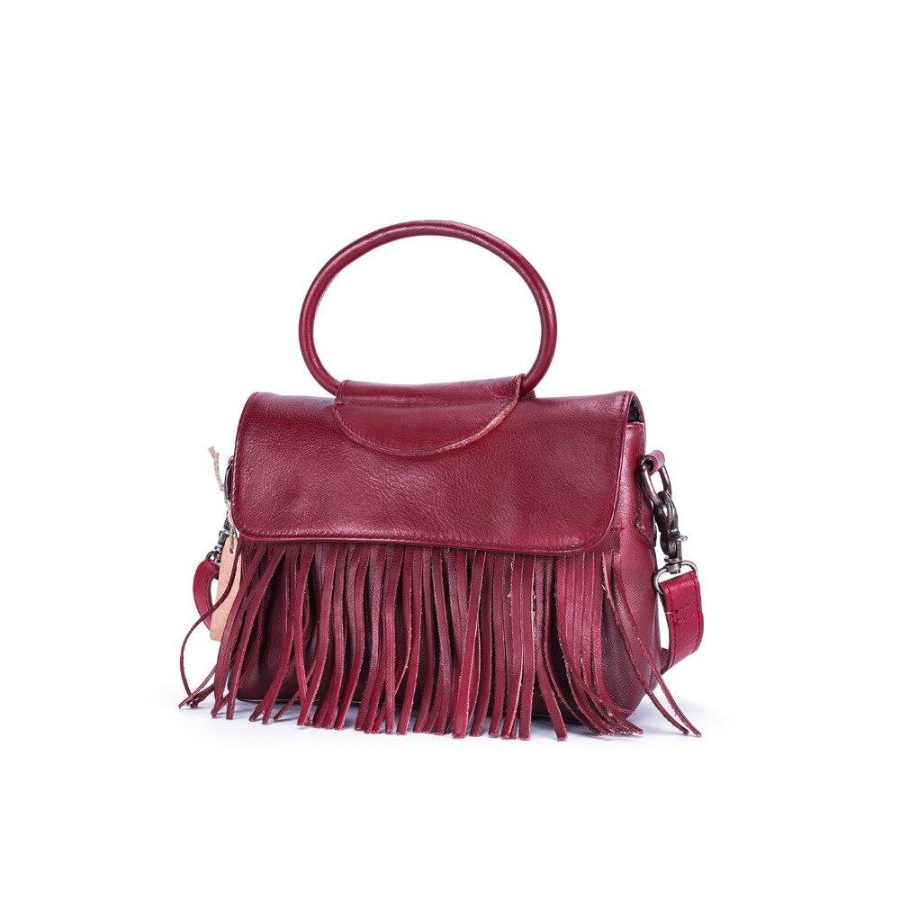 Dark Brown Woman Handbag With Tassel