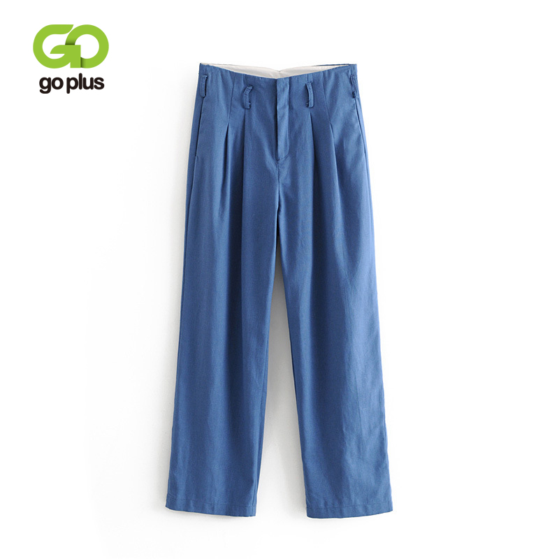 GOPLUS New Blue Elegant Office Lady Pleated Linen   Pants   2019 Spring Autumn High Waist   Wide     Leg     Pants   Casual Full Length Trousers