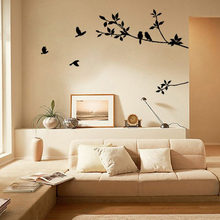 New Heaven Tree Branch Black Bird Art Wall Stickers Removable Vinyl living room Bedroom decals posters pvc wall decal(China)