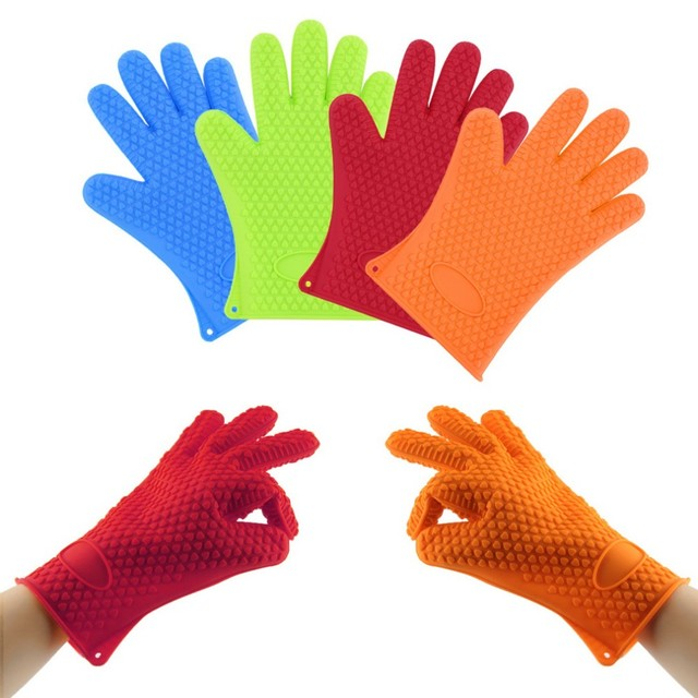 1pc Heat Slip BBQ Oven Pot Holder Mitt Sleeves Resistant Silicone Dotted  Gloves Cooking Baking Kitchen