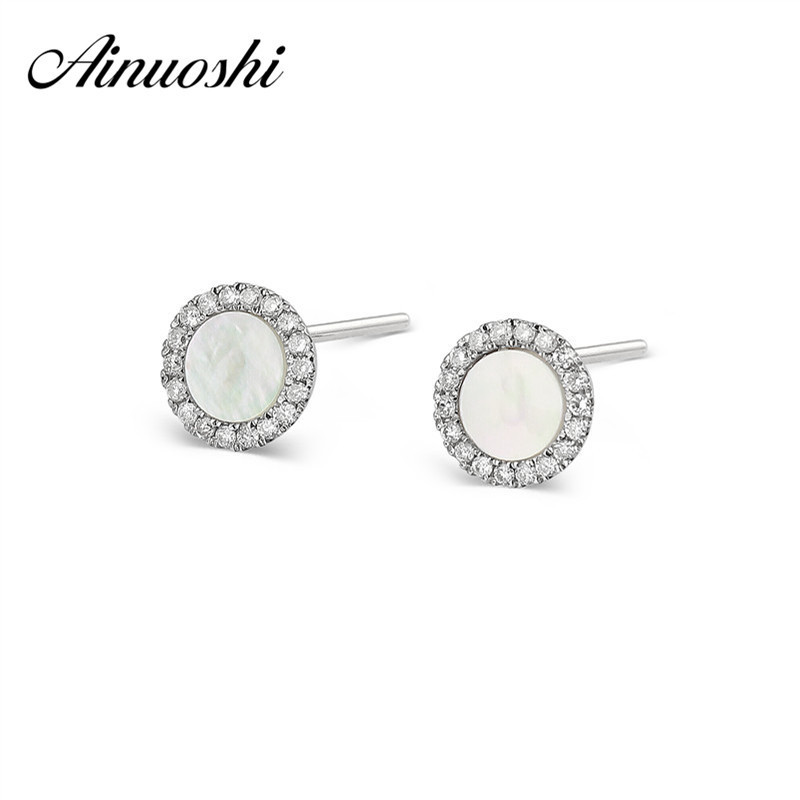 AINUOSHI Cute Mini 18K White Gold Stud Earrings White Onyx Round Earrings 0.137ct Pure Natural Round Cut Diamond Earrings ainuoshi pure 18k white gold female diamond sets natural white onyx round shaped earring pendant necklace bracelet jewelry sets