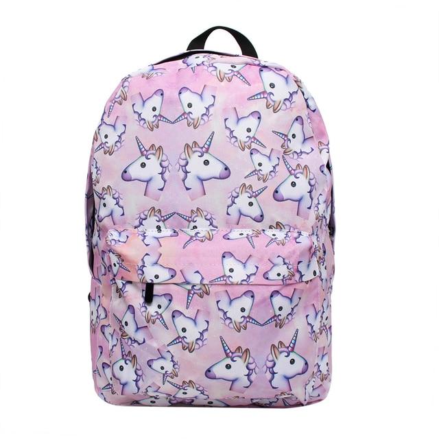 Deanfun 3PCS /set Women Printed Unicorn Backpack School Bags For Teenage Girls Shoulder Drawstring Bags 1