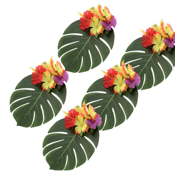 Artificial Tropical Palm Leaves Table Decor Hawaiian Jungle Beach Theme Family Garden Wedding Home Party Wh image