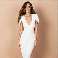 Women V Neck White Midi Dresses Empire Autumn Short Sleeve Solid Night Club Party Wear Dress