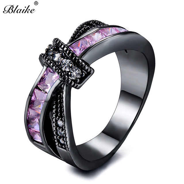 Blaike Female Pink Zircon Stone Cross Ring Fashion Crystal Knot Design Black Goled Filled Birthday Engagement Wedding Jewelry