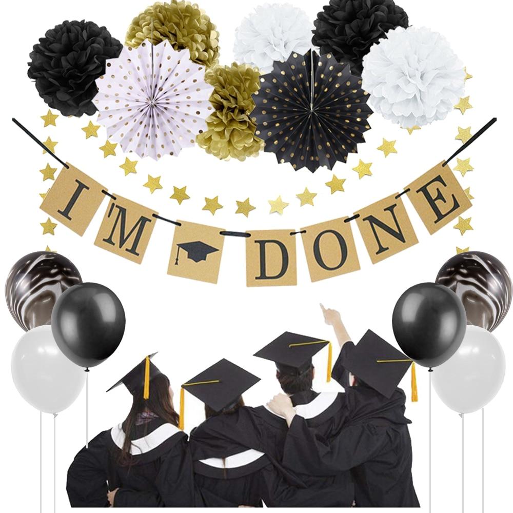 Graduation Party 2019 I AM DONE Banner Congrats Grad Cap